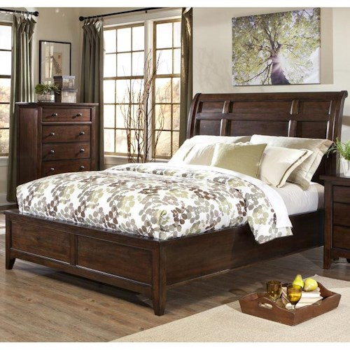 Intercon Jackson Transitional Queen Sleigh Bed with Metal Accents