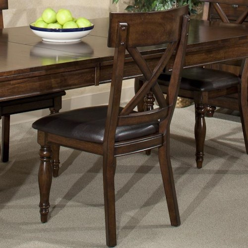Intercon Kingston  X-Back Side Chair w/ Upholstered Seat