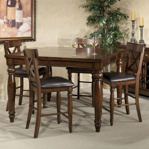 Intercon Kingston  Five Piece Gathering Table and Stool Set