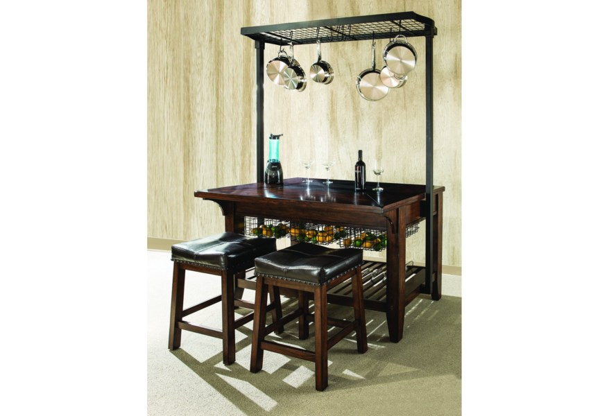 Kona Kitchen Island With Metal Pot Rack And Wine Storage By Intercon At Rife S Home Furniture