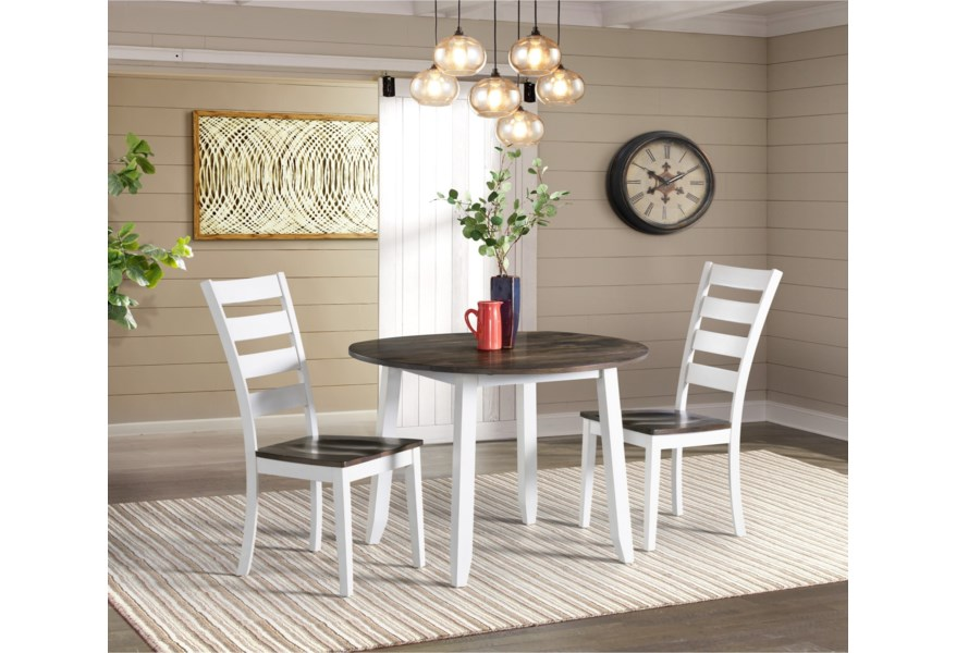 Intercon Kona Transitional 3 Piece Drop Leaf Dining Table And Ladder Back Side Chair Dining Set Rife S Home Furniture Dining 3 Piece Sets