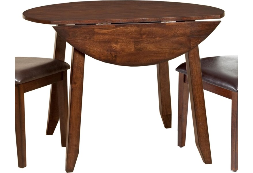 Belfort Select Cabin Creek Wooden Round Top Drop Leaf Dining Table Belfort Furniture Kitchen Tables