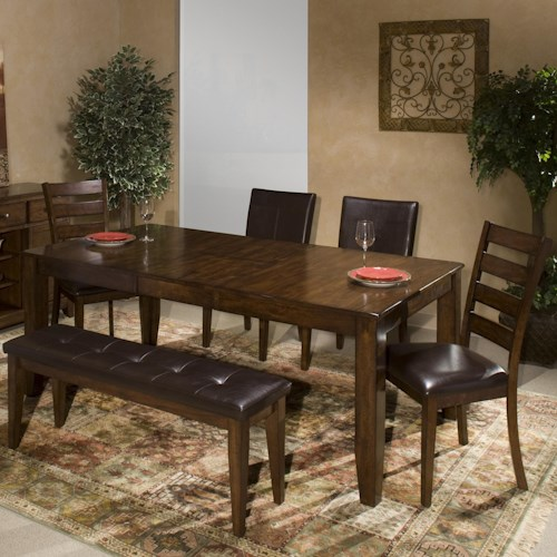 Intercon Kona 6 Piece Dining Room Set With Parsons And Ladder Back Side Chairs