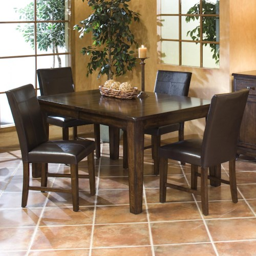 Belfort Select Cabin Creek 5 Piece Solid Mango Dining Set with Parson's Side Chairs