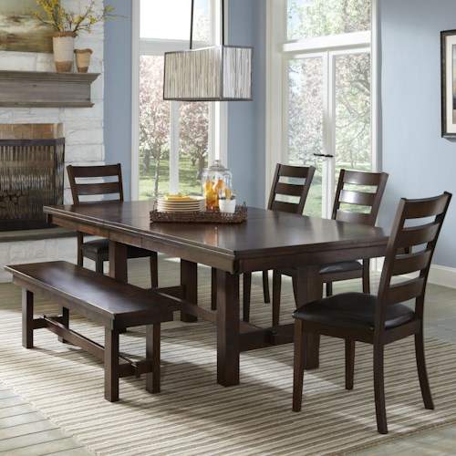 Intercon Kona Dining Set with Ladder Back Chairs and Backless Bench