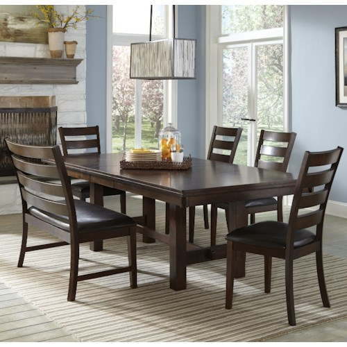 Intercon Kona Dining Set with Ladder Back Chairs and Bench