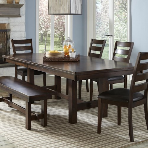 Intercon Kona Trestle Dining Table with Leaf - Wayside Furniture ...