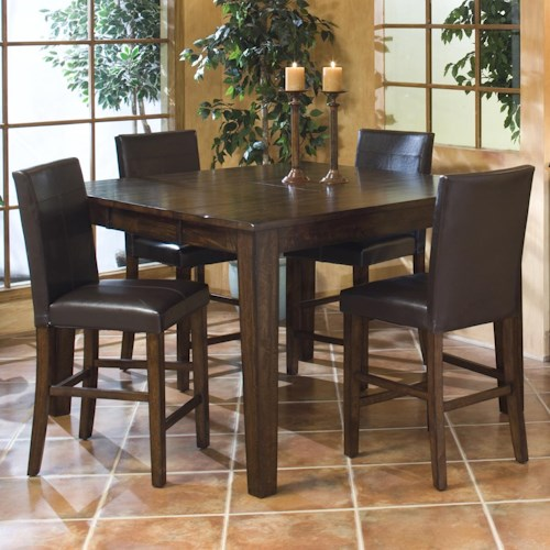Belfort Select Cabin Creek Gathering Table Set with Parson's Barstools