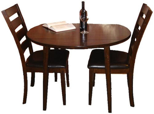 Intercon Kona 3 Piece Drop Leaf Dining Table and Ladder Back Side Chair Dining Set