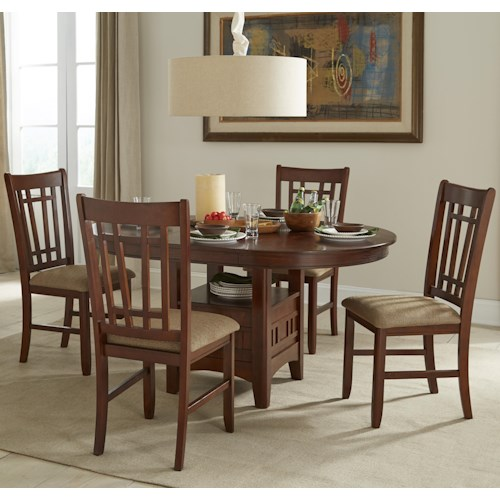 Intercon Mission Casuals Oval Dining Table Set with Cushioned Side Chairs