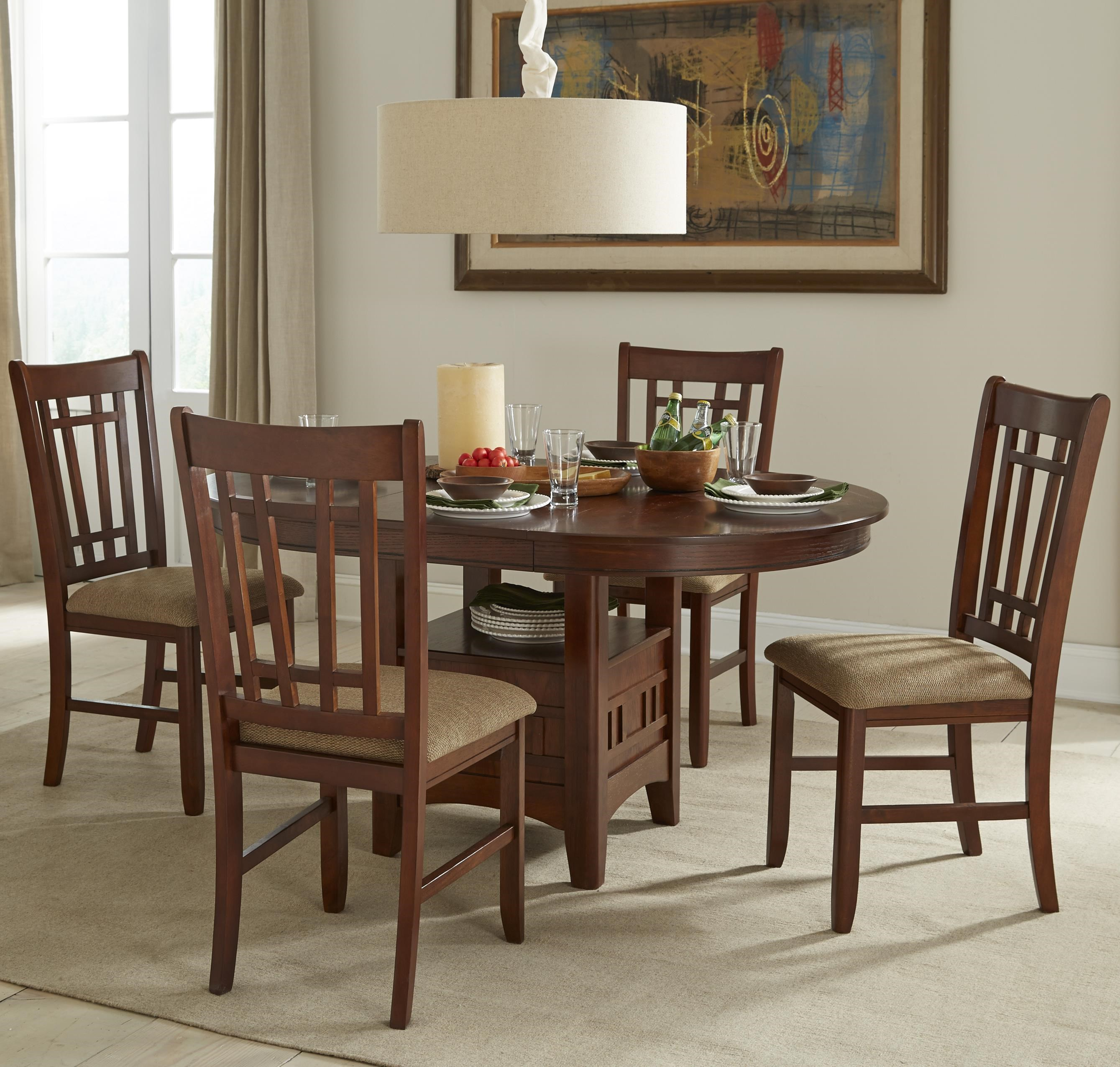 Great Intercon Mission Casuals Oval Dining Table Set With Cushioned Side Chairs