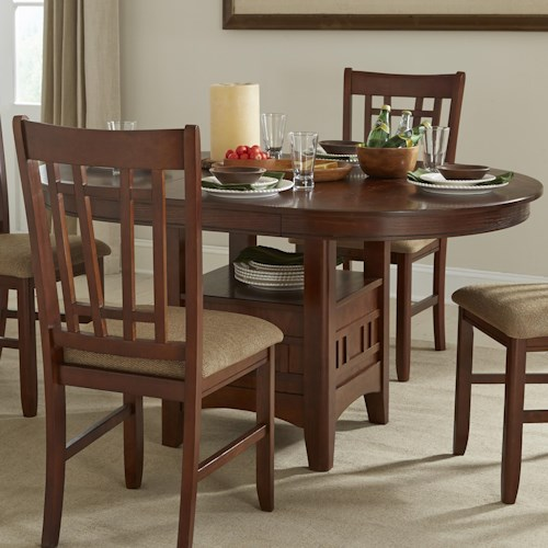 Intercon Mission Casuals Oval Dining Table with Storage Pedestal