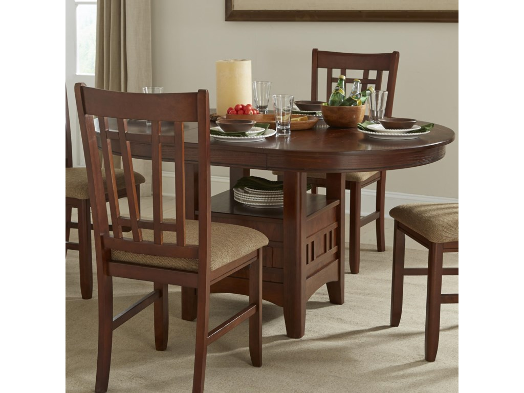 intercon mission casuals oval dining table with storage pedestal old brick furniture dining room table. beautiful ideas. Home Design Ideas