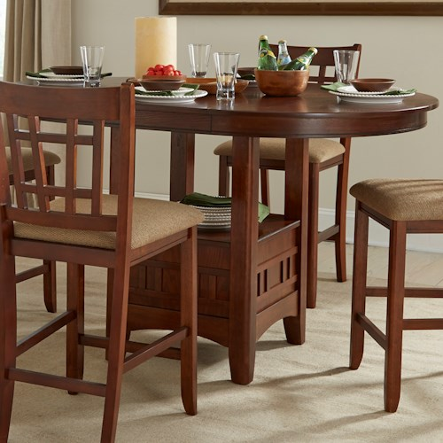Intercon Mission Casuals Pedestal Gathering Table with Leaf