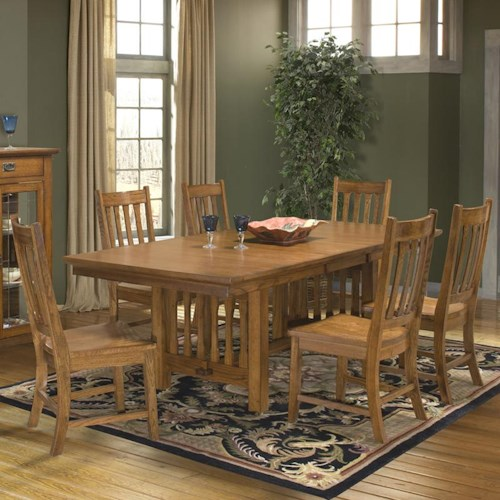 Intercon Mission Leopold 7-Piece Trestle Table & Slat Back Chair Set