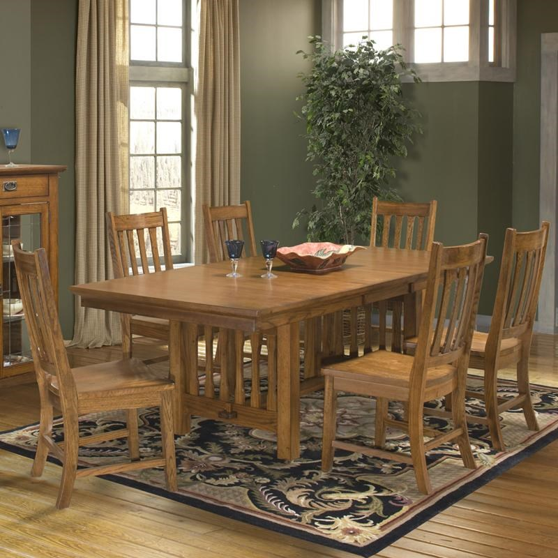 Intercon Mission Leopold 7 Piece Trestle Table U0026 Slat Back Chair Set