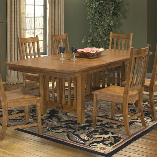 Intercon Mission Leopold Solid Oak Double Pedestal Table with Trestle