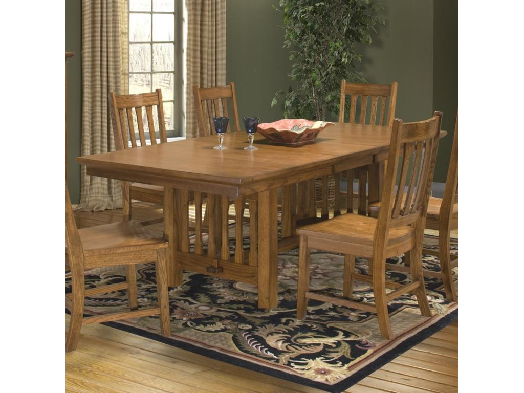 Intercon Mission Leopold Solid Oak Double Pedestal Table With - Double pedestal trestle dining table