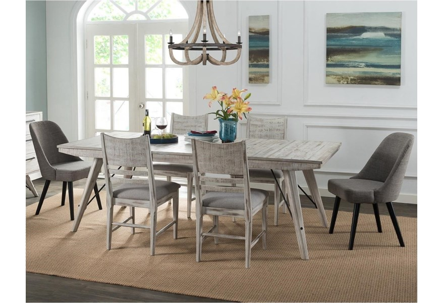 Intercon Modern Rustic Contemporary 7 Piece Table And Chair Set Fisher Home Furnishings Dining 7 Or More Piece Sets