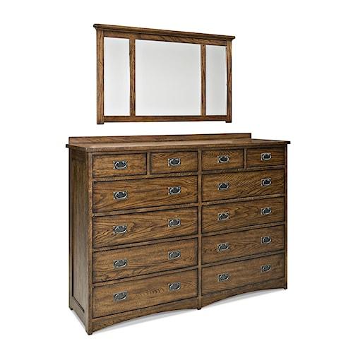 Intercon Oak Park Mission Twelve Drawer Dresser and Landscape Mirror Set