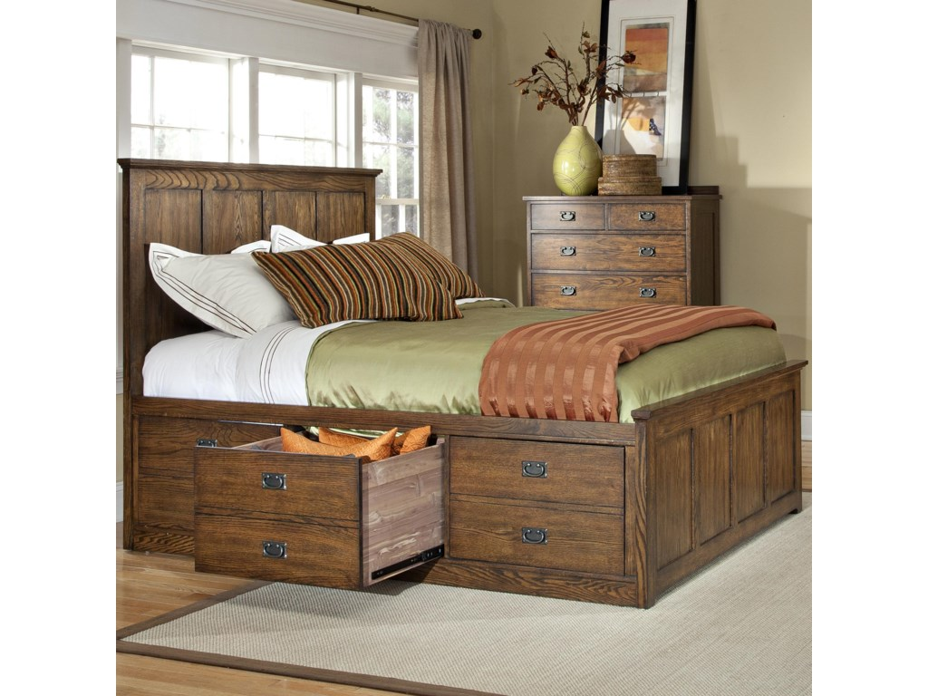 VFM Signature Oak ParkQueen Bed with 6 StorageDrawers