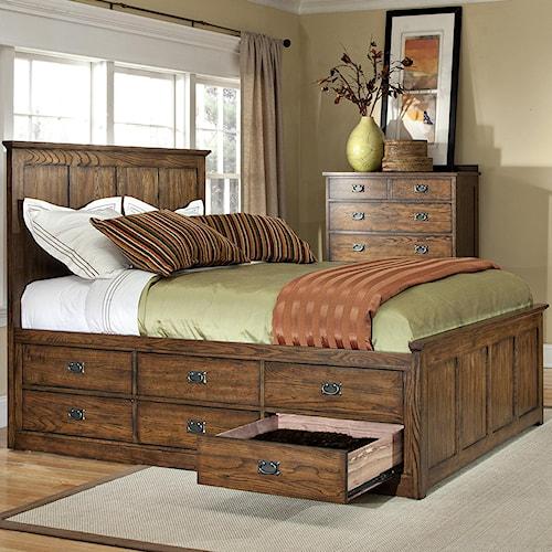 Intercon Oak Park Mission King Bed with Twelve Underbed Storage Drawers