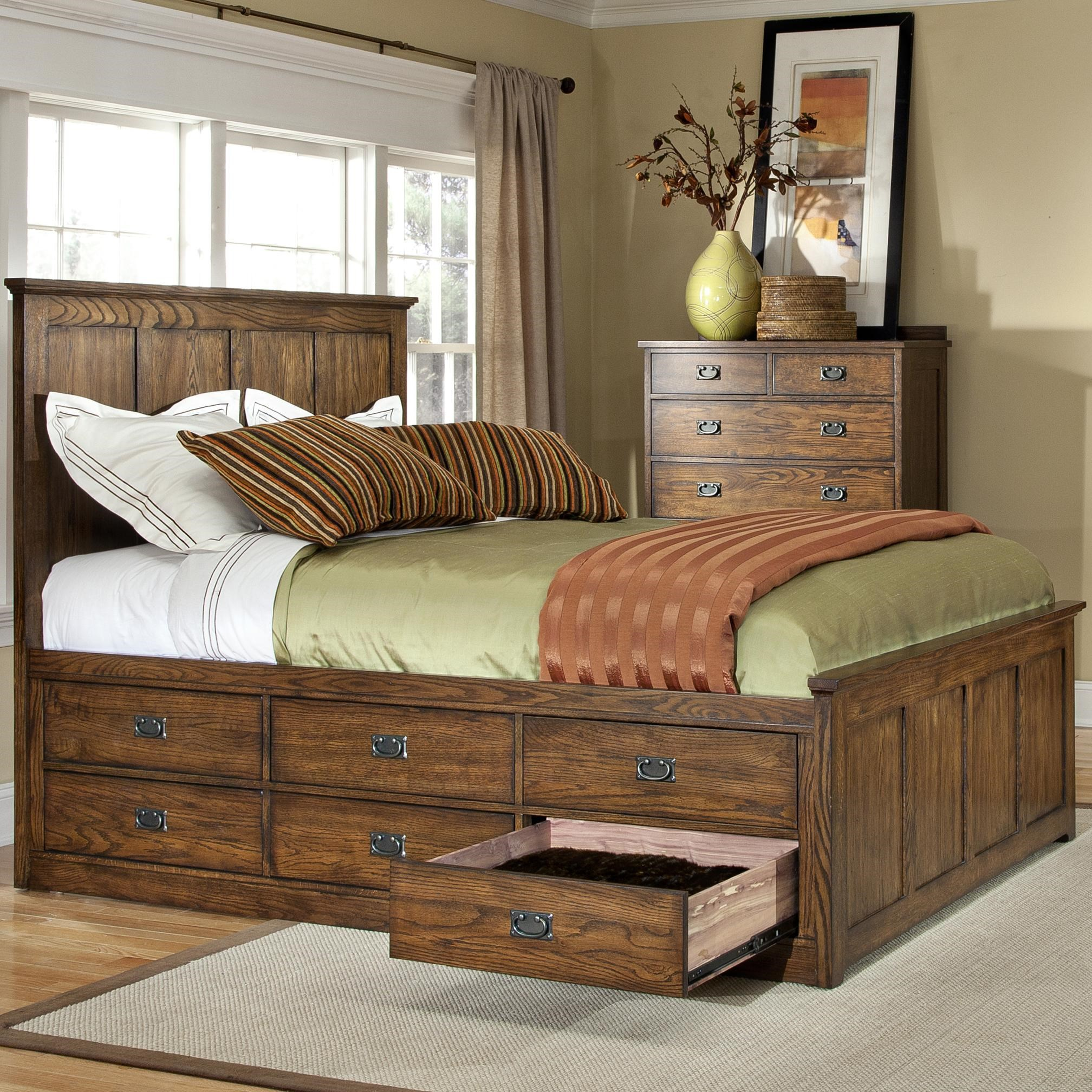 Intercon Oak Park Mission Queen Panel Bed With 9 Underbed Storage Drawers Wayside Furniture Panel Beds