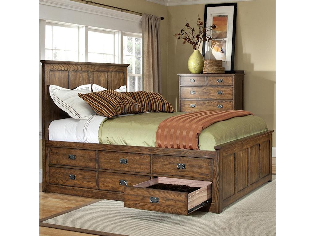 Intercon Oak Park Mission Queen Bed With Twelve Underbed Storage Drawers
