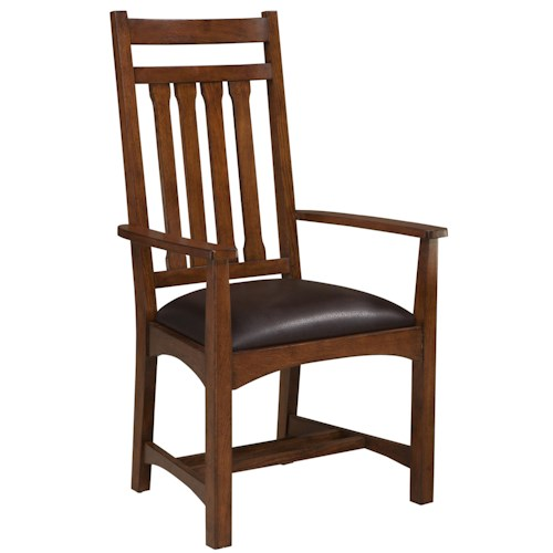 Intercon Oak Park Dining Arm Chair with Slat Back and Upholstered Seat
