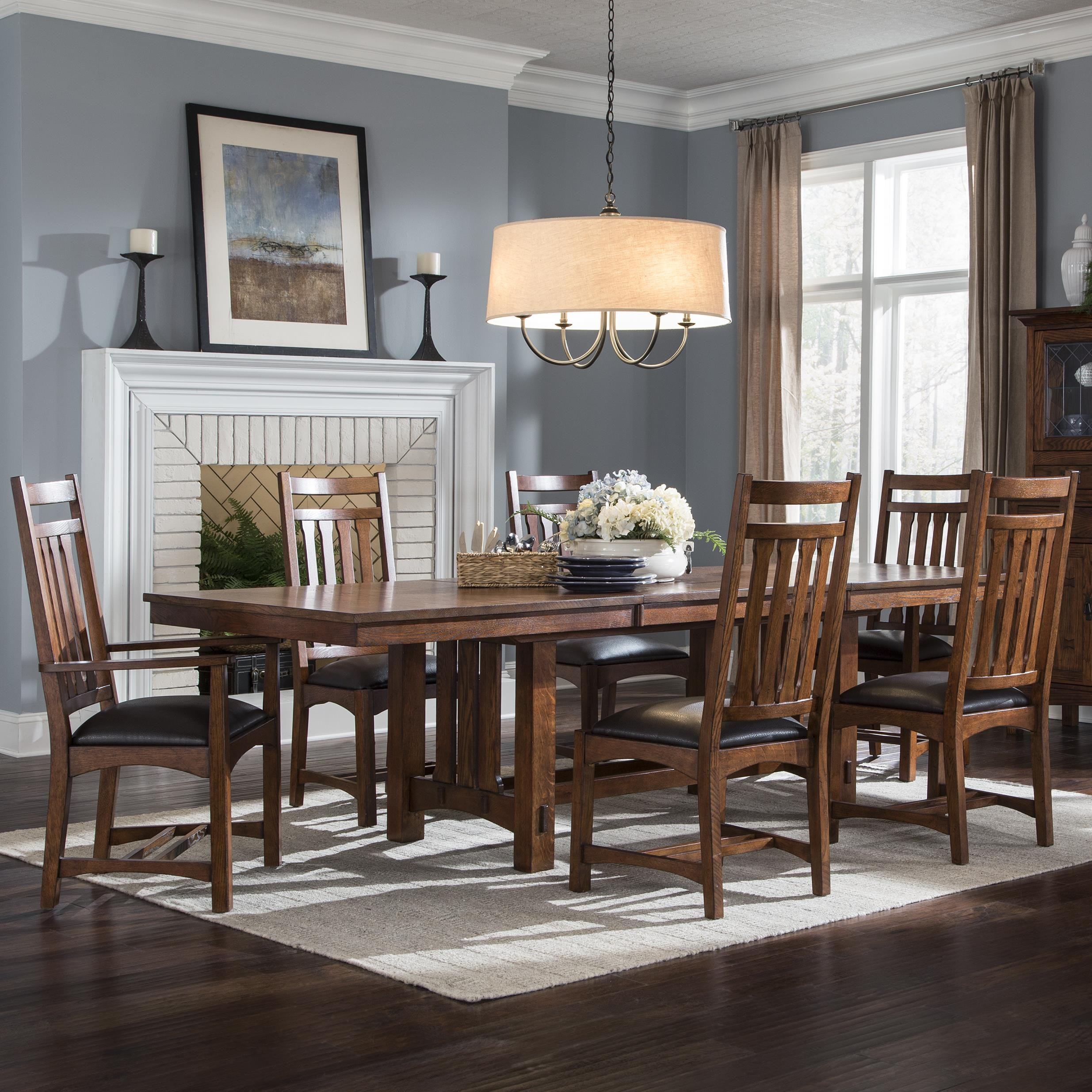 Intercon Oak Park 7 Piece Dining Set With Slat Back Chairs