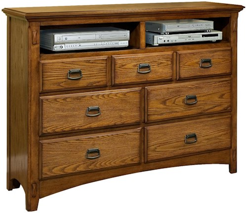 Intercon Pasadena Revival  Seven-Drawer Entertainment Chest with Open Component Storage