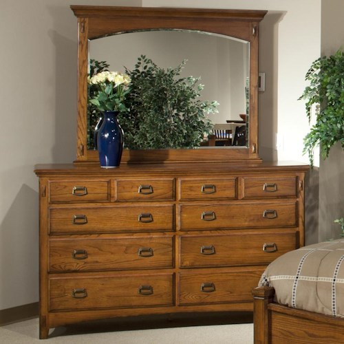 Intercon Pasadena Revival  Eight-Drawer Dresser with Wood-Framed Landscape Mirror