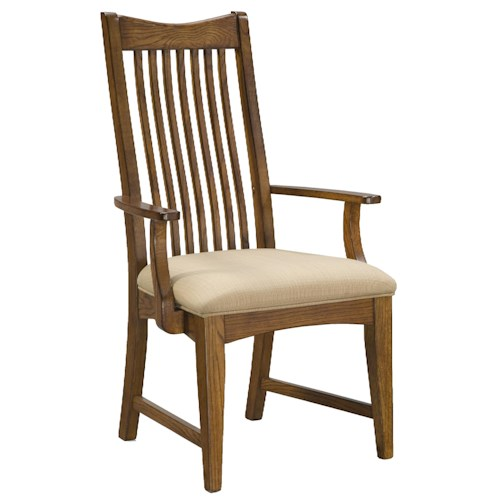 Intercon Pasadena Revival  Slat Back Arm Chair with Cushion Seat