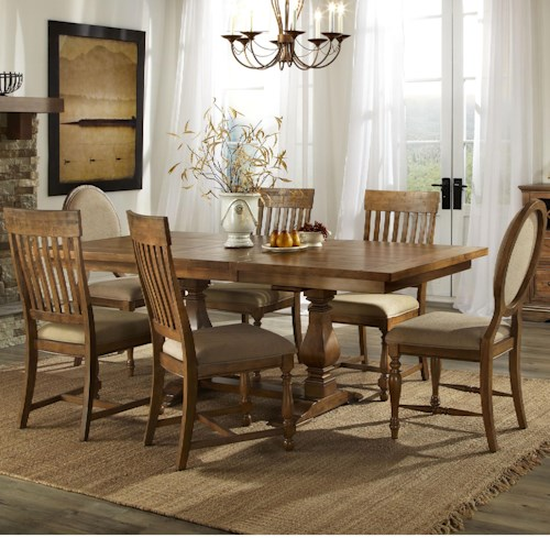 Intercon rhone dining trestle table and chair set with 6 chairs