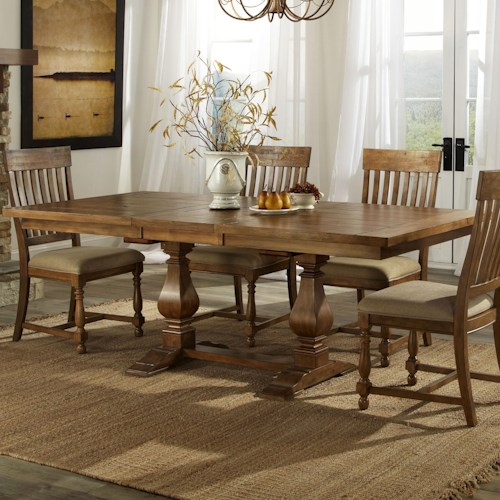 Intercon Rhone Trestle Dining Table with Leaf - Wayside Furniture ...