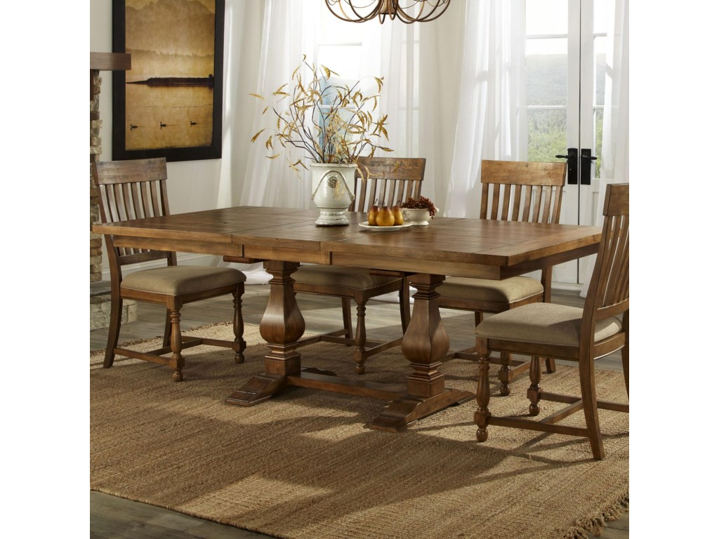 Intercon Rhone Trestle Dining Table with Leaf   Hudson\'s Furniture ...