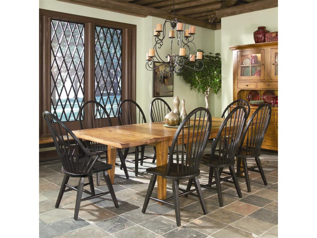 Intercon Rustic Traditions Dining Table w/4 Tapered Legs and Windsor ...