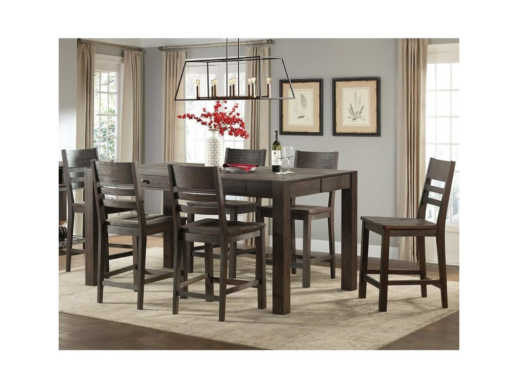 Intercon Salem7 Piece Gathering Height Table and Stool Set