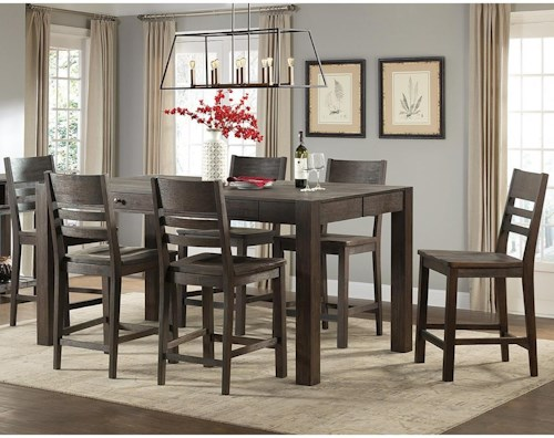 Intercon Salem 7 Piece Parsons Style Gathering Height Table and Bar Stool Set