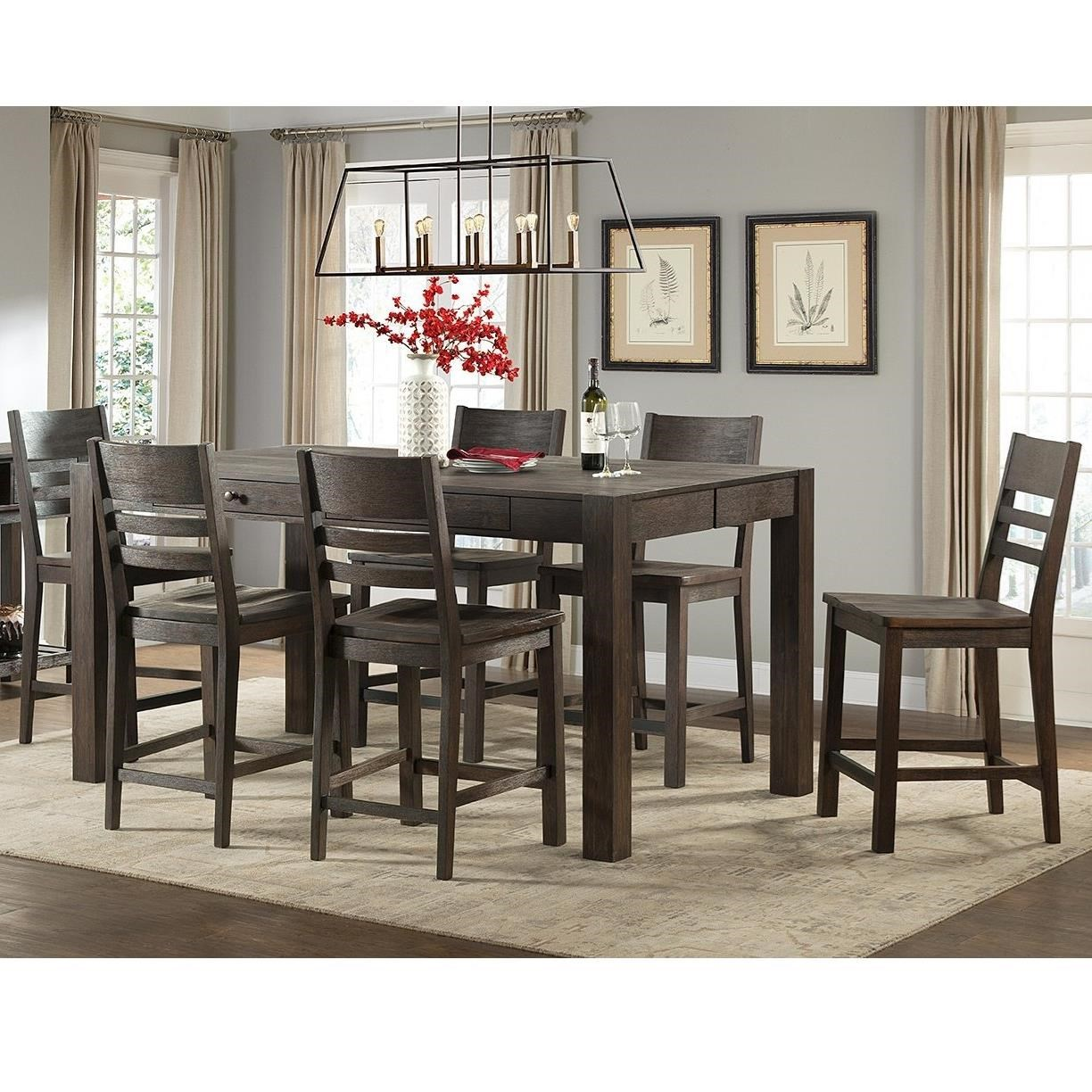Intercon Salem7 Piece Gathering Height Table And Stool Set ...