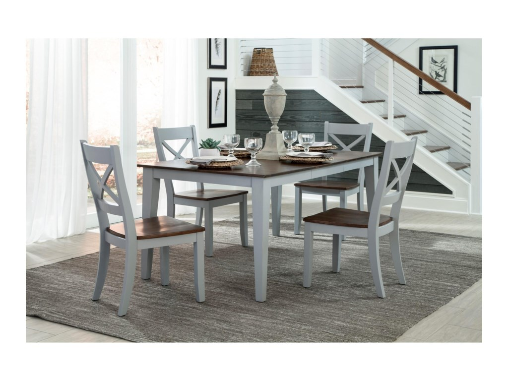 Small Space Two Tone X Back Dining Side Chair By Intercon At Goffena Furniture Mattress Center