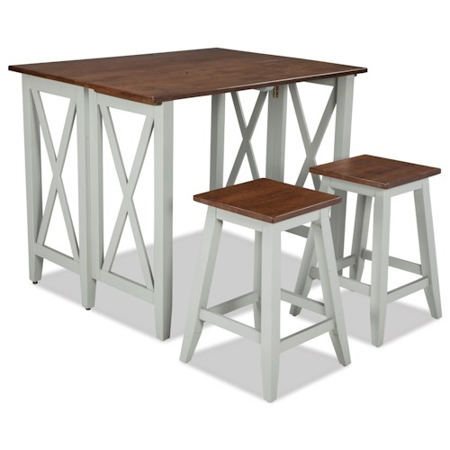 Intercon small space 3 piece drop leaf breakfast bar and backless stool set wilson 39 s furniture - Piece dining set small spaces plan ...