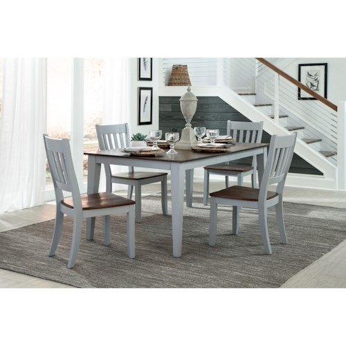 Intercon small space 5 piece table and slat back chair set wayside furniture dining 5 piece sets - Piece dining set small spaces plan ...