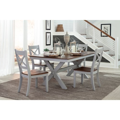 Intercon Small Space 5 Piece Trestle Table and X-Back Chair Set