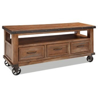 Intercon Taos Rustic TV Console With Decorative Casters