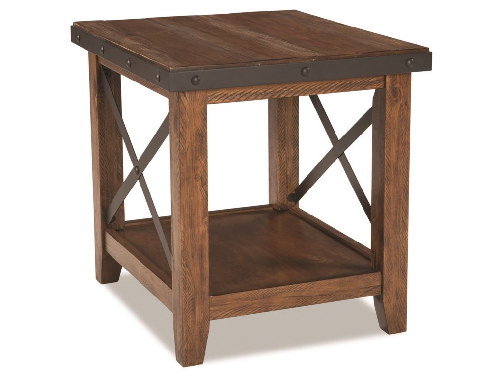 Taos Rustic End Table With Metal Accents By Intercon At Gallery Furniture