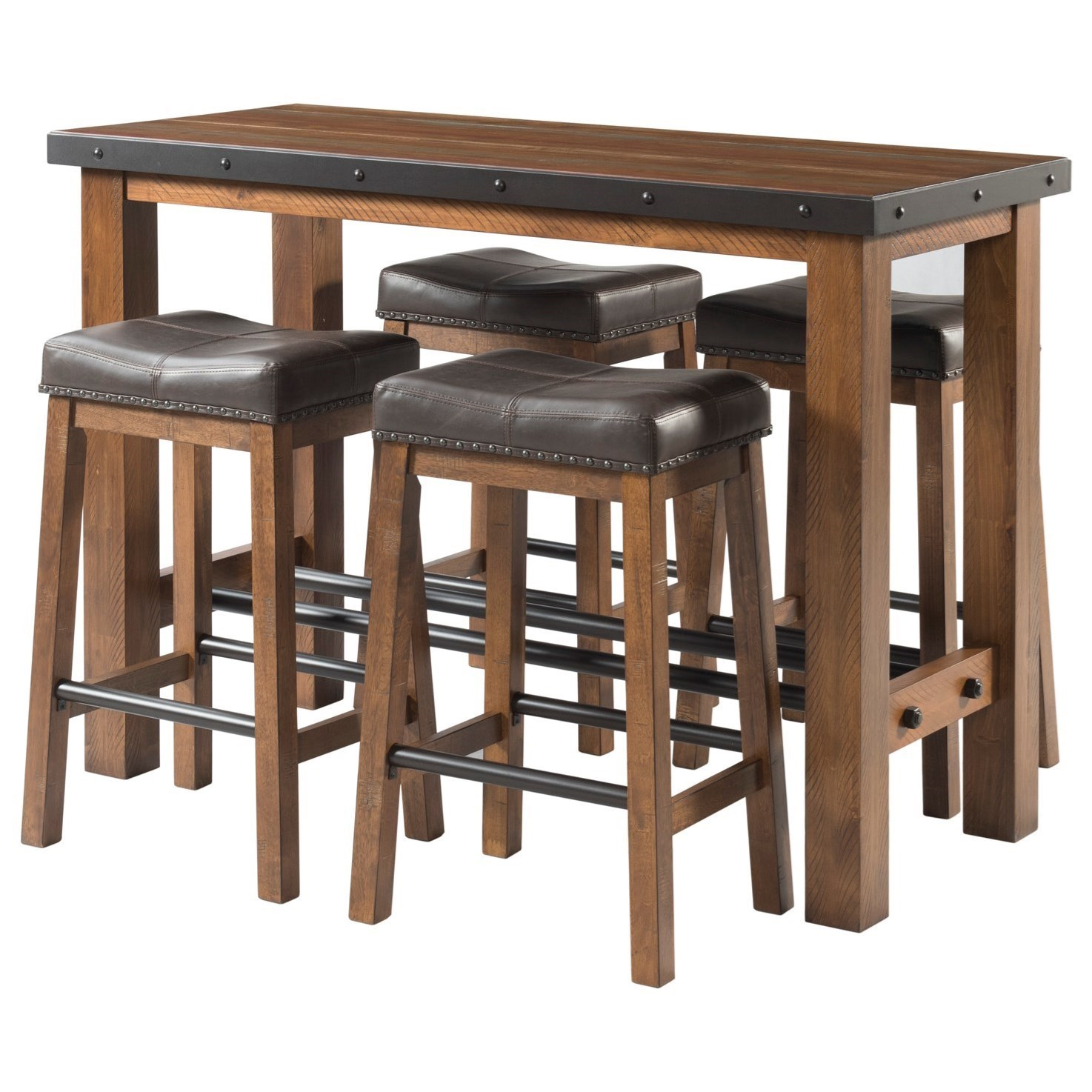 Picture of: Intercon Taos 5 Piece Rectangular Pub Table And Chair Set Wayside Furniture Dining 5 Piece Sets