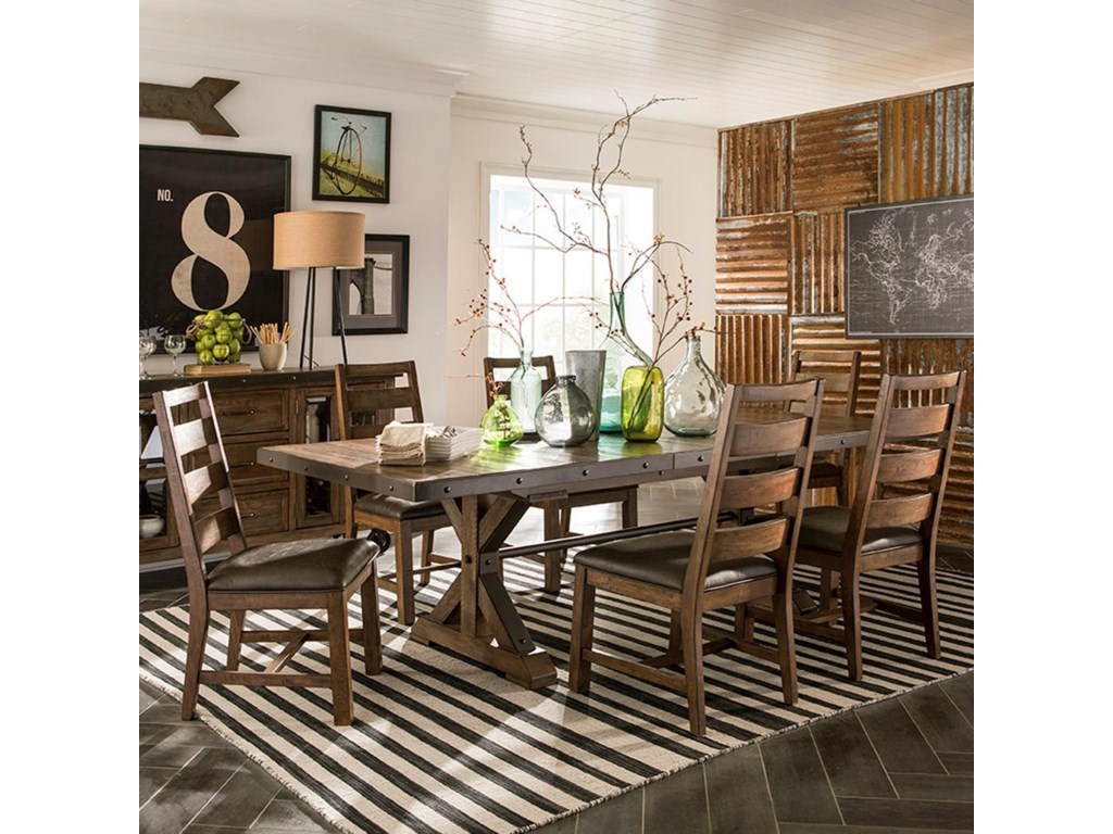 Intercon Taos 7 Piece Rectangular Table And Chair Set With Self