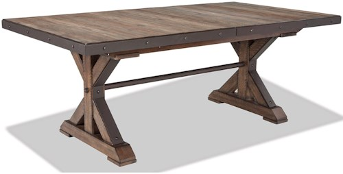 Intercon Taos Rustic Trestle Table With Self Storing Leaf