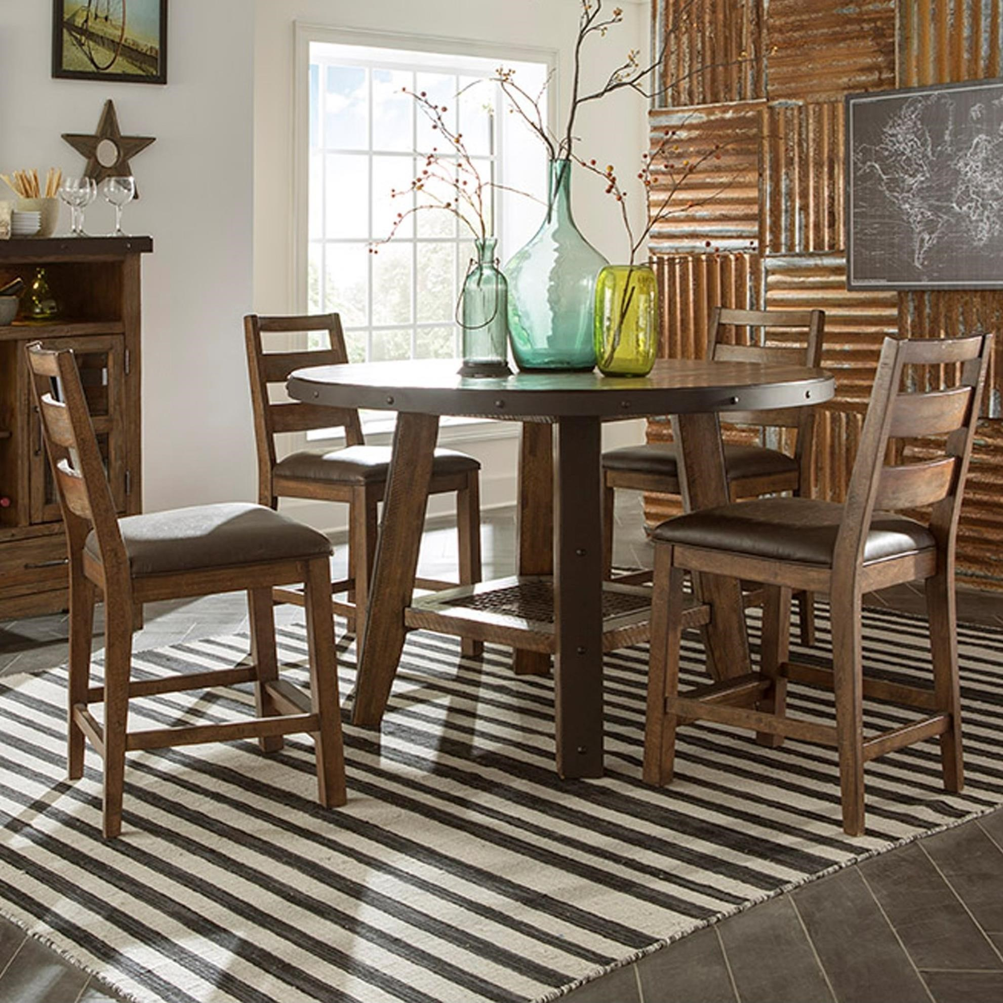 Intercon Taos 5 Piece Rustic Round Counter Table Set & Intercon Taos 5 Piece Rustic Round Counter Table Set | Furniture ...